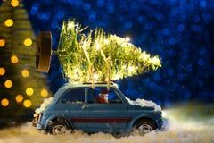 交付圣诞节或新年树的圣诞老人 库存图片