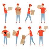 交付字符 薄饼食物包装装载者工作在有动画片箱子的仓库里的服务人 传染媒介交付 库存例证