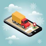 交付等量3d 有货物的卡车 雪冬日 等待一个圣诞节和新年 库存例证
