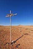 交叉在沙漠 库存照片