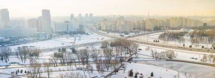 交叉路全景在米斯克,冬时 免版税库存图片