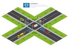 交叉路和路标等量传染媒介例证infographics的 运输汽车,都市和沥青,交通 图库摄影