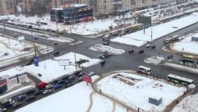 交叉路在城市 股票视频