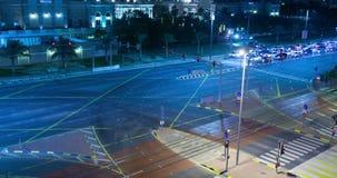 交叉路在迪拜在晚上 影视素材