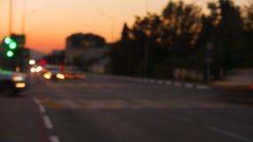 交叉路时间间隔  城市光美好的日落的 影视素材