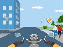 交叉路的例证有走的人的 免版税库存图片