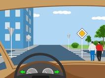 交叉路的例证有走的人的 向量例证