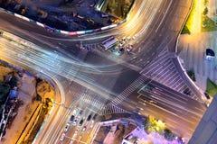 交叉路的鸟瞰图在青岛,中国 免版税图库摄影