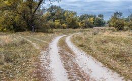 交叉路,在领域的两个不同方向夏令时 库存照片