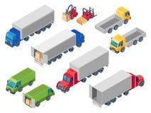 交换的后勤等量卡车 装载的卡车、货箱运输卡车和拖车装载者 范cars 3d 皇族释放例证