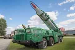 交换MAZ-543 (9P117)有8K14 9K72导弹复杂Elbrus (飞奔B)火箭的发射器  图库摄影