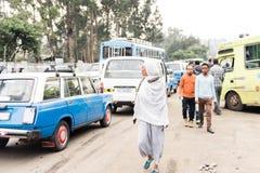 交易在亚的斯亚贝巴,埃塞俄比亚街道  免版税库存照片