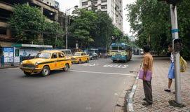 交易在街道上在街市在加尔各答,印度 库存照片