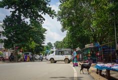交易在街道上在街市在加尔各答,印度 免版税库存图片