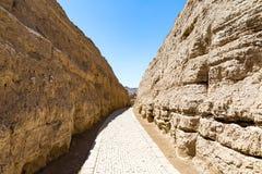 交河故城,仓库区,吐鲁番,中国 Jushi王国的古都,这是一个自然堡垒 库存图片