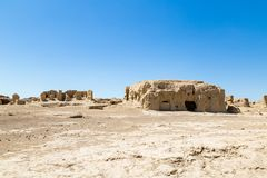 交河故城,吐鲁番,中国 Jushi王国的古都,这是一个陡峭的高原的一个自然堡垒 免版税图库摄影
