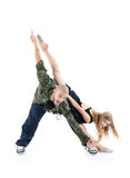 交谈者和体操运动员女孩表示三角 免版税库存图片