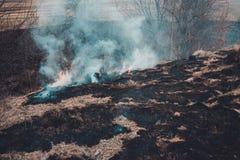 交通事故多发地段和烟从被烧的干草是环境危害的 免版税库存照片