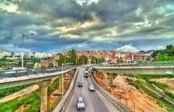交通互换在康斯坦丁,阿尔及利亚 免版税库存照片