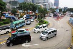 交通和城市生活在这个亚洲国际事务和金融中心 免版税库存照片