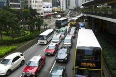 交通和城市生活在这个亚洲国际事务和金融中心 库存图片