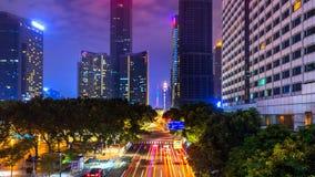 交通和都市风景在晚上在广州,中国 免版税库存图片