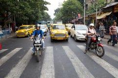 交通在加尔各答,印度 图库摄影
