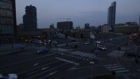 交通在波尔塔Nuova波尔塔加里波第买卖财务区的交叉点实时 股票录像