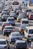 交通堵塞在北京中心商务区,中国 免版税图库摄影