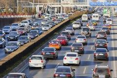 交通堵塞在北京中心商务区,中国 图库摄影