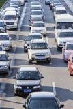 交通堵塞在北京中心商务区,中国 免版税库存照片