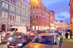 交通堵塞在城市莫斯科 免版税库存图片