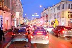 交通堵塞在城市莫斯科 免版税图库摄影