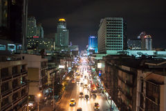 交通堵塞在市中心在曼谷 免版税库存图片