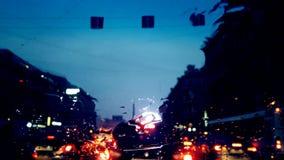 交通堵塞在晚上 免版税库存照片