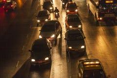 交通堵塞在曼谷在夜之前 免版税库存照片
