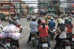 交通堵塞在Cho池氏Minh市 免版税库存照片