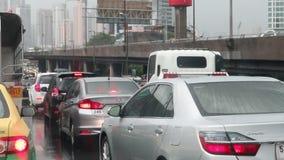交通堵塞看法在Klong Toey Pharma 3路Klong Toey区曼谷,泰国 股票录像