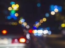 交通堵塞迷离汽车轻的Bokeh背景 免版税库存照片