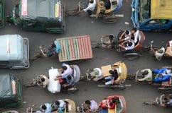 交通堵塞鸟瞰图在达卡,孟加拉国 库存照片