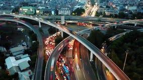 交通堵塞Timelapse英尺长度在晚上 股票录像