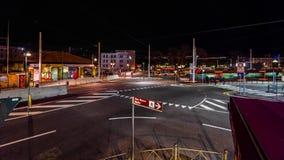 交通夜timelapse在Piazzale罗马的在威尼斯,意大利4K 股票录像