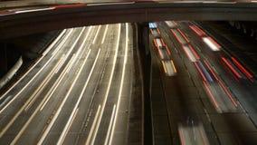 交通时间间隔泛顶上的视图在繁忙的10高速公路的在街市洛杉矶加利福尼亚 股票视频