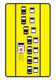 交通标志劝告汽车给左方式救护车 免版税图库摄影