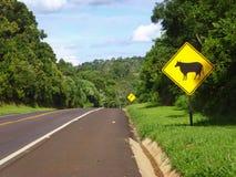 """交通标志在路的†""""母牛 库存图片"""