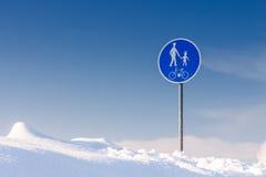 交通标志-步行者和骑自行车者的走道 图库摄影