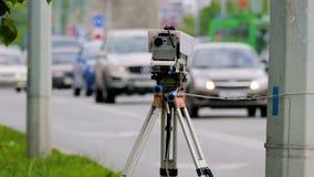 交通速度控制的流动警察雷达 股票视频