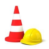 交通锥体和在白色背景隔绝的安全帽象 库存照片