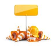 交通锥体和安全帽。路标。隔绝 库存照片