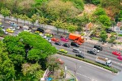交通,交通堵塞,泰国,曼谷,公共汽车 免版税图库摄影